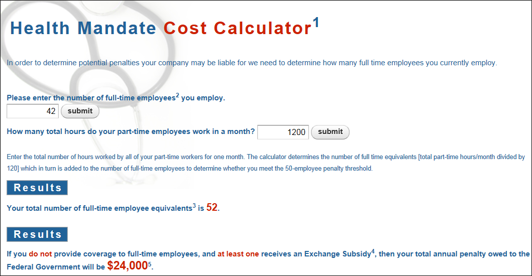 Health Mandate Cost Calculator